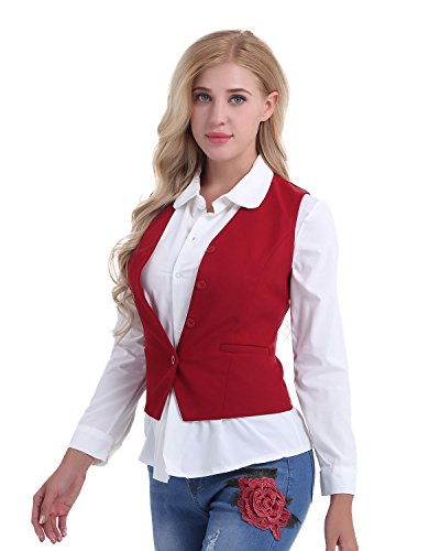 iEFiEL Damen Anzugweste Ladies Waistcoat Formal Business Weste Taillierte Weste Basic Schwarz/Rot Größen S-XXL Rot Medium