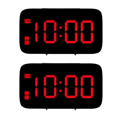 LOVIVER 2pcs Hora Mundial Reloj Despertador Digital Moderno LCD LED Snooze Escritorio de Dígitos Grandes Rojo