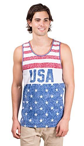 Brooklyn Surf Men's USA American Flag Jersey Tank Top Sleeveless Tee Shirt, Red/White/Blue, Medium