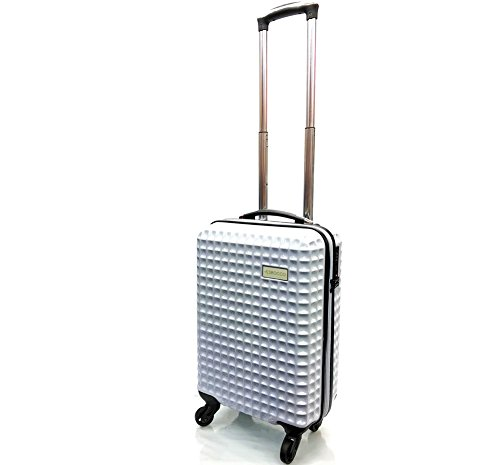 21' Premium Super Lightweight Waffle Style PC Durable Hard Shell Luggage Suitcase Travel Trolley Cases with 4 Wheels & Built-in TSA Lock Cabin Approved for Ryanair, EasyJet & BA (21' Cabin, White)
