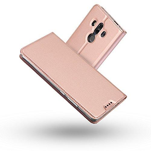 Radoo Huawei Mate 10 Pro Hülle, Premium PU Leder Handyhülle Brieftasche-Stil Magnetisch Folio Flip Klapphülle Etui Brieftasche Hülle Schutzhülle Tasche Case Cover für Huawei Mate 10 Pro (Rose Gold)