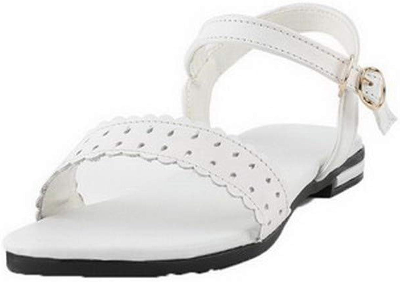 Amonymode Woherrar Buckle Low -Toe Low -klackar Pu Solid Sandals, BUTLT00806