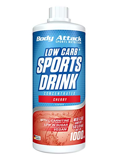 Body Attack Low Carb Sports Drink, Sportgetränkekonzentrat ergibt 50 Liter, zuckerfrei - und kalorienarm, vegan mit Carnitin & Vitaminen, Cherry / Kirsche, (1 x 1000ml)