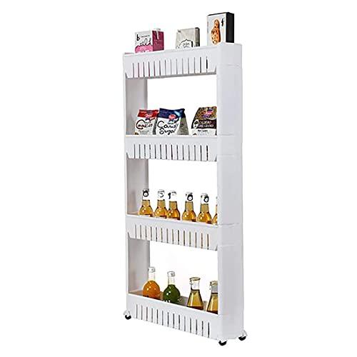 JINWEI Carrito de cocina de almacenamiento con 4 niveles, estante organizado, fácil de montar en ruedas, para cocina, baño, lavandería, plástico y acero inoxidable, color blanco