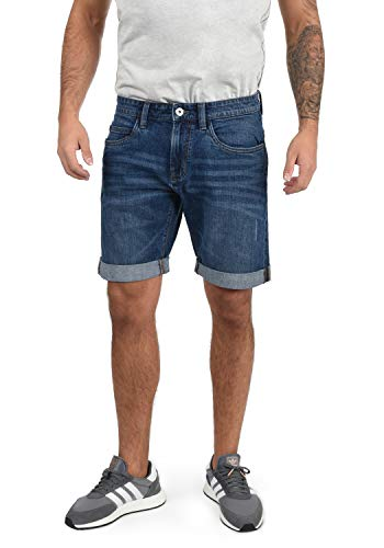Indicode Quentin Herren Jeans Shorts Kurze Denim Hose Mit Destroyed-Optik Aus Stretch-Material Regular Fit, Größe:L, Farbe:Medium Indigo (869)