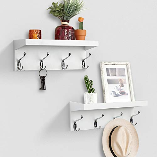 hanging shelf with hooks AHDECOR Entryway Floating Wall Mounted Coat Rack, Storage Hanging Shelf with 4 Durable Hangers, White