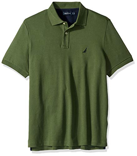 Nautica Men's Classic Fit Short Sleeve Solid Soft Cotton Polo Shirt, pine forest, 3X Big