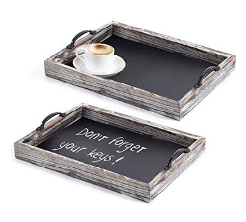 Brilliest Farmhouse/Rustic Wooden Tray Set with Metal Handles - Food Serving Tray Set (Large & Small) for Ottoman/BBQ/Kitchen/Decor - Decorative Nesting Tray set