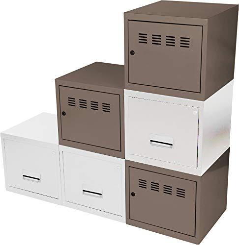 Cube à Porte et Tiroir avec avec Kits de Liaison, Taupe/Blanc, Lot de 6