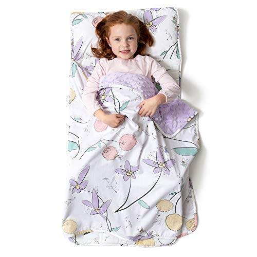 JumpOff Jo - Toddler Nap Mat - Children's Sleeping Bag with Removable Pillow for Preschool, Daycare, and Sleepovers - Measures 43 x 21 Inches with Original Design - Fairy Blossoms