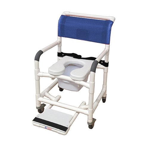 MJM International 122-3TL-SSDE-BB-22-SQ-PAIL-SF Wide Shower Chair with Total Lock Casters, Soft Seat, Safety Belt, Commode Pail and Slide Out Footrest, 375 oz Capacity, 40.5' Height x 26' Width x 27' Depth, Royal Blue/Forest Green/Mauve