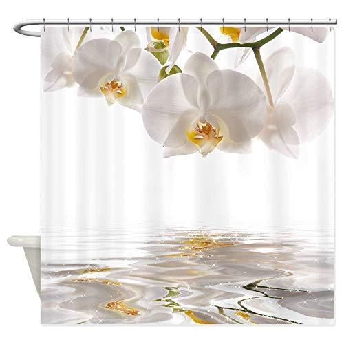 LCZMQRCLMZRQModerne minimalistische witte orchidee douchegordijn kussen decoratie waterdicht polyester badkamer gordijn set thuis badkamer decoratie, 180x180cm