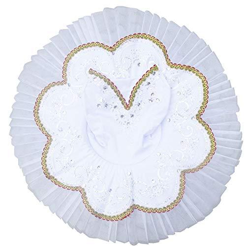 JIANMIN Disfraz de ballet para niñas, vestido de bailarina tutú con correa para tortitas y tutús para niños, vestido de baile clásico, disfraz de fiesta de Halloween (color: plata, tamaño: 140 cm)
