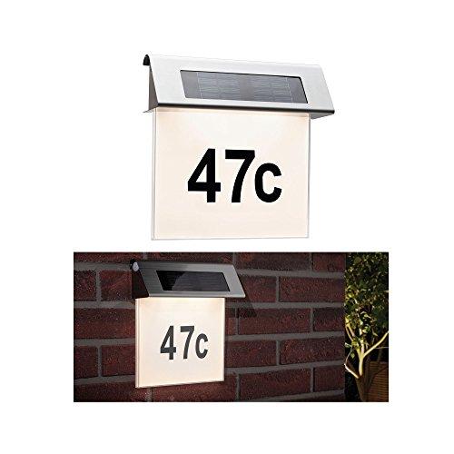 Paulmann 937.65 Special Solar Hausnummernleuchte IP44 LED Warmweiß inkl. 0.2W 93765 Solarleuchte Aufbauleuchte Hausnummer housenumber