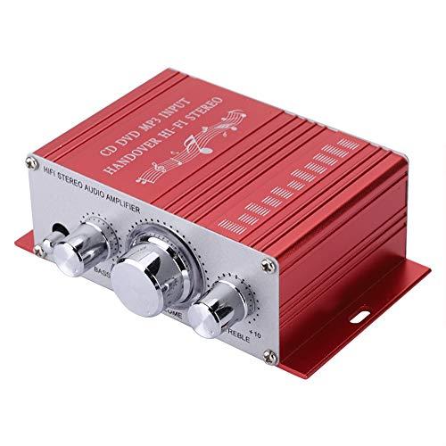 Mini mini auto versterker, digitale audio vierkanaals versterker, hifi audio muziek cd dvd mp3 fm-speler voor auto's / motorfietsen met dsp elektronische toetsenbordbediening (rood)