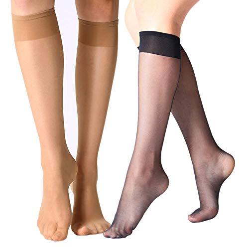 MANZI 12 Pairs Lady s Sheer Knee High Stockings (6 Pairs Black,6 Pairs Natural)