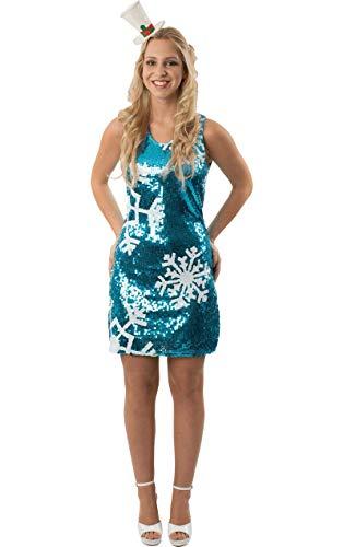 ORION COSTUMES Disfraz de Copo de Nieve Navideño con Lentejuelas Azules para Mujeres