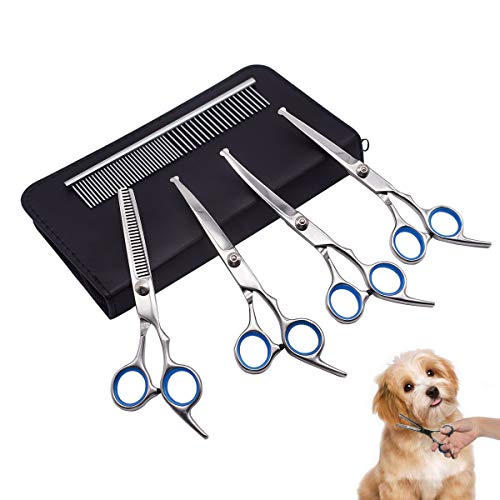 PetQoo Dog Grooming Scissors with Safety Round Tips Heavy Duty Titanium Pet Grooming Trimmer Kit Professional Curved Thinning Shears Straight Scissors with Comb for Dogs and Cats