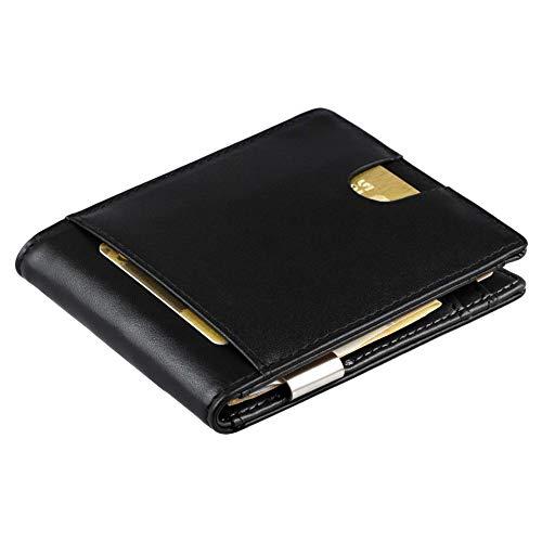 Cartera de Hombre con Pinza para Billetes y Monedero - Billetera pequeña de Piel auténtica con protección RFID, Regalos para Hombres, Color Negro