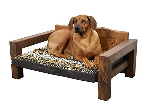 Jagdfallen Steingraf Hundebett Holz Tromsö 72cm x 108cm x 40cm Hundesofa Holz Hundeliege Holz Hundecouch Holz mit Matratze jedes Bett EIN Unikat #dunkel# (Tiger)