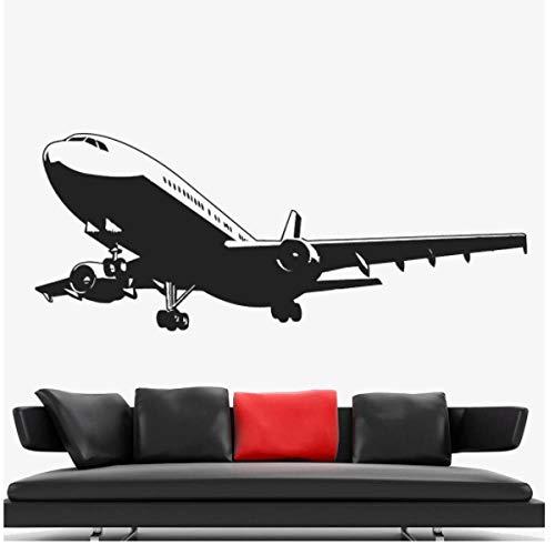 Vliegtuig wandtattoo woonkamer huis decoratie vinyl muursticker voor kantoor achtergrond wandversiering kinderkamer wandschilderijen 57x23cm