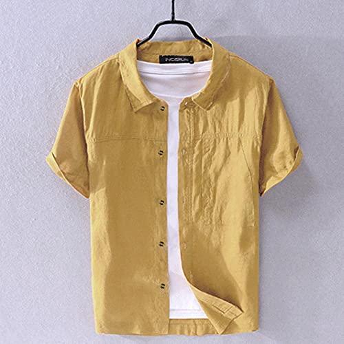 A-HXTM Camisa Camisa para Hombre Cuello Vuelto Sólido Casual Streetwear Tops de...