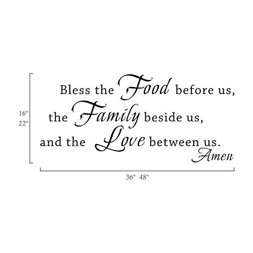 MoharWall Kitchen Wall Sticker Decor Kitchen Decal Quotes - Bless The Food Before Us Saying Decoration