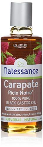 Léa Nature - NATESSANCE - Huile de Carapate Ricin Noir 100% Pure Nourrit et Protège pour cheveux secs à très secs, crépus, frisés ou défrisés - 100 ml