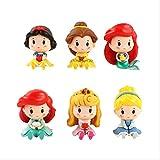 GYINK 6 unids / Set Q Posket Princesa Blancanieves Bella Cenicienta Sirena 6-8 Cm PVC Lindo Mini Modelo Figura de acción Juguetes muñecas