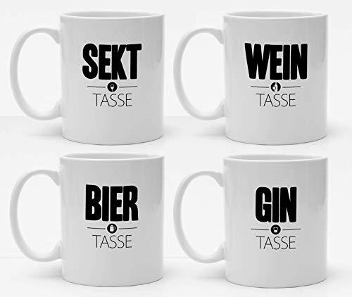 4er Tassenset, Spass Tassen für alkoholische Getränke, Sekt Tasse, Wein Tasse, Bier Tasse, Gin Tasse, Anti-Stress mit Humor, Handmade