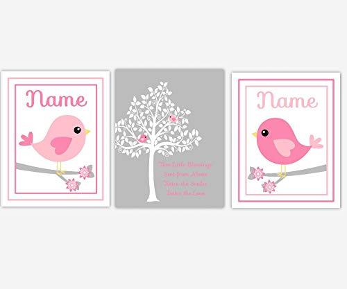Leoner22art Tweelingen Bab Meisje Kwekerij Kunst Roze Grijze Vogel Silhouette Boom Baby Meisje Kwekerij Meisje Kwekerij Muur Kunst Gepersonaliseerde Twin Quotes 8 x 10 inch
