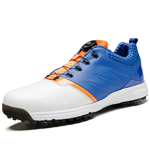Aagoola Men's Breathable Golf Shoes with Spikes, BOA Golf Shoes for Men Blue