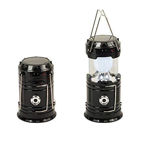 2021年最新的電話用のソーラーランタン懐中電灯、USB充電式キャンプランタンLED、緊急用の折りたたみ式&ポータブル、ハリケーン、停電、嵐、キャンプ、ハイキング、学校の非常灯(black)