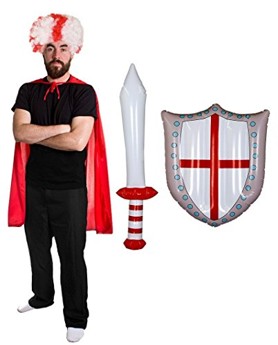 I LOVE FANCY DRESS LTD Fan+Supporter ZUBEHÖR KOSTÜME VERKLEIDUNG. Sets Wales+SCHOTTLAND + England. England-PERÜCKE + UMHANG+AUFBLASBARES Schwert + Schild