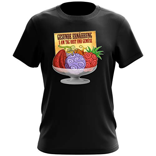 One Piece Lustiges Schwarz T-Shirt - Teufelsfrucht - Gum-Gum-Frucht (One Piece Parodie) (Ref:719)