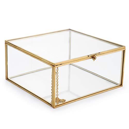 Hipiwe Vintage Glass Jewelry Organizer Box - Golden Metal Keepsake Box Desktop Jewelry Organizer Holder, Wedding Birthday Gift, Square Vanity Decorative Box for Dresser,Bathroom