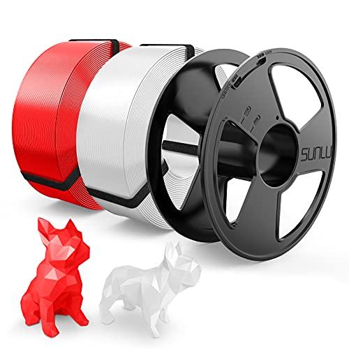 Filamento PLA 1.75mm, SUNLU PLA Filamento Stampante 3D, Riutilizzabile Spool, MasterSpool, Filament Refill è Facile da Sostituire, PLA 2KG, 1kg Spool, 2 Confezioni, Bianca+Rosso