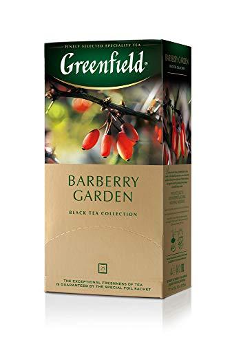 Greenfield Barberry Garden, Aromatisierter Schwarzer Tee, Hibiskus, Berberitze, Kornblume, Vergissmeinnicht, 25 Doppelkammer-Teebeutel mit Etiketten in Folienbeuteln, (25 x 1,5g), 37,5g [10er packung]