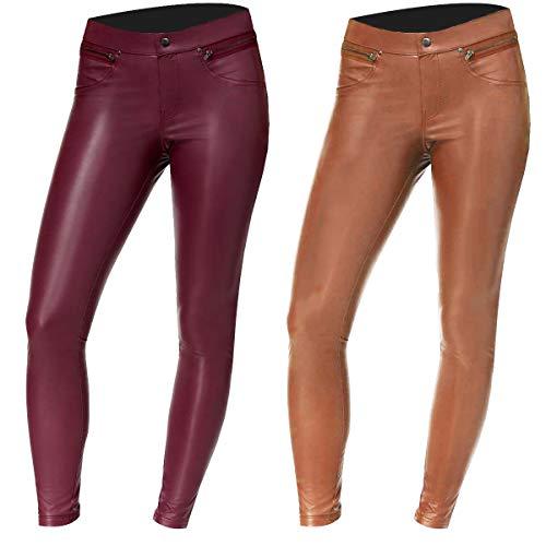 Fashion_First Leggings ajustados de piel genuina para mujer