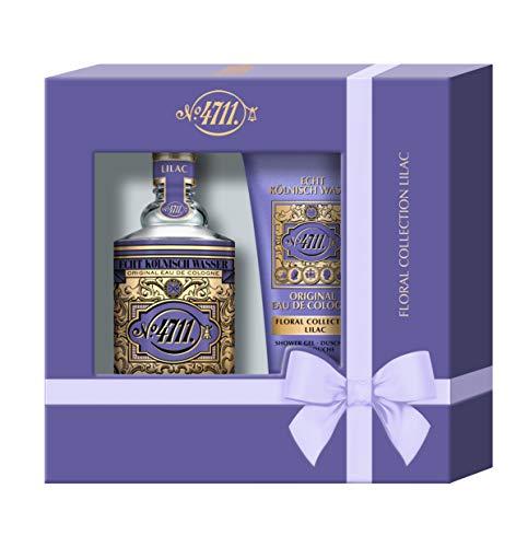 4711® Echt Kölnisch Wasser I Floral Collection - FLIEDER - Geschenkset als Weihnachtsgeschenk I Eau de Cologne 100ml Natural Spray und 50ml Duschgel