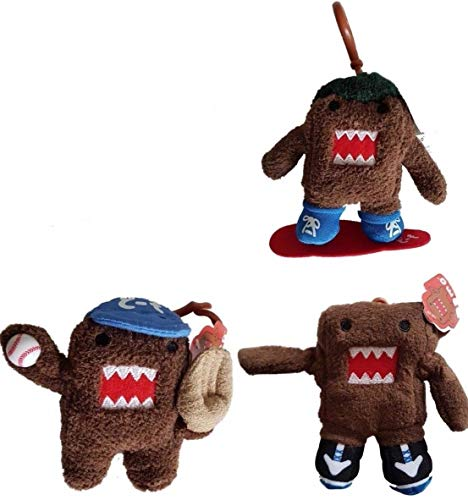 3 x DOMO Soft Plush Bag Clips/Clip-on/Keychains/Keyrings (1 each of Sneakers, Baseball and Snowboard)