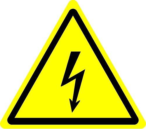 Label-Zeichen ISO Sicherheit - Internationale Warnung, Elektrizität Symbol - Selbstklebende Aufkleber 100mm Durchmesser