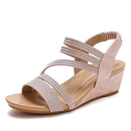 Mujer Plataforma de Verano Sandalias de cuña Casual Beach Slip on Shoes Chanclas,Rosado,36