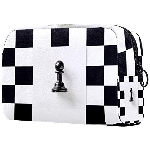 TIKISMILE - Bolsa de maquillaje con patrón de ajedrez, tamaño grande, bolsa...