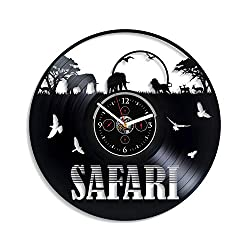 Kovides New Year Gift Safari Wall Clock Elephant Wall Clock 12 Inch Animal Wall Clock Africa Wall Clock Vintage Vinyl Record Retro Wall Clock Large Safari Art Birthday Gift Elephant Gift