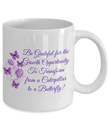 N\A Taza de abundancia, gratitud, Espiritual, Religiosa, Mariposa púrpura, Maestra, Regalo temático para Ella, él, Hombres, Mujeres, Novedad Divertida, Taza de té de café