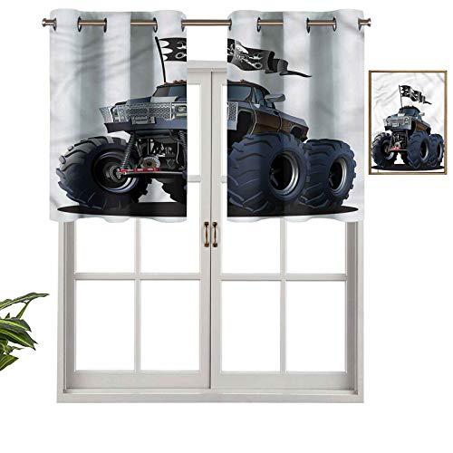 Hiiiman Panel de cortina con bloqueo UV, diseño de monstruo de camión pirata, juego de 2, 42 x 24 pulgadas para habitación de niños