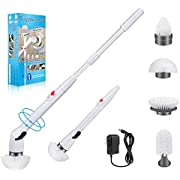 Buyplus Electric Spin Scrubber - 360 Cordless Power Bathroom Scrubber for 2021, Extendable Handle and 4 Replacement Brush Heads for Cleaning Grout Kitchen Shower Tub Tile Floor