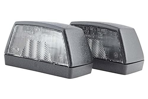 HELLA 2KA 003 389-061 Kennzeichenleuchte - 12/24V - Anbau/Schraubanschluss - Lichtscheibenfarbe: glasklar - Stecker: Flachstecker - hinten/links/rechts