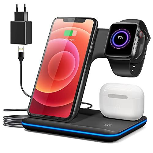 Chargeur sans Fil 3 en 1 Station d'accueil de Chargement sans Fil Support pour Apple Watch 6/5/4/3/2 7,5 W pour iPhone 12 Pro Max / 12 / SE2 / 11 Pro/XS/XR/X / 8 Plus et AirPods Pro